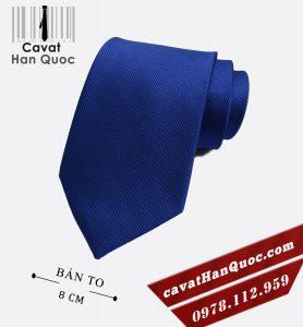 Cà vạt xanh dương gân tăm cao cấp bản to 8 cm