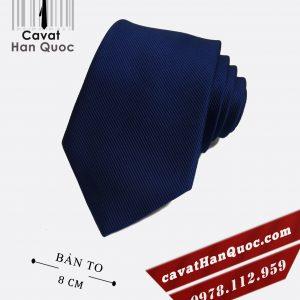 Cà vạt xanh than gân tăm cao cấp bản to 8 cm