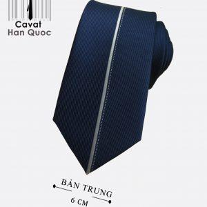 Cà vạt xanh than sọc giữa trắng bản nhỏ 6 cm