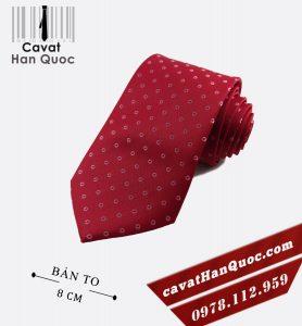 Cà vạt đỏ đậm chấm tròn bản to 8 cm