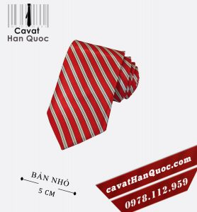 Cà vạt đỏ kẻ trắng vải bóng bản nhỏ 5 cm