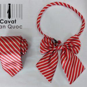 Cà vạt nơ đồng phục đỏ kẻ trắng
