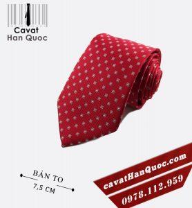 Cà vạt đỏ chấm caro bản to 7,5 cm