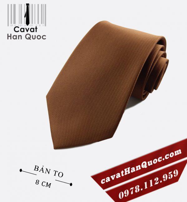 Cà vạt nâu gân tăm cao cấp bản to 8 cm