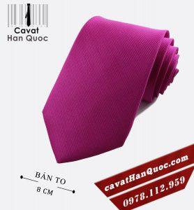 Cà vạt tím hồng gân tăm cao cấp bản to 8 cm