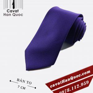 Cà vạt tím đậm gân tăm cao cấp bản to 7 cm
