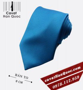 Cà vạt xanh ngọc gân tăm cao cấp bản to 8 cm