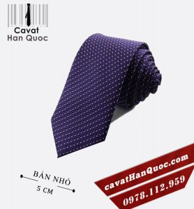 Cà vạt tím chấm bi trắng bản nhỏ 5 cm
