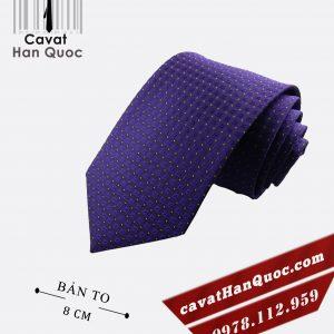 Cà vạt tím đậm chấm bi trắng caro bản to 8 cm