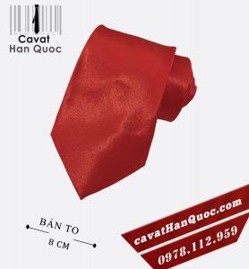 Cà vạt đỏ tươi vải bóng bản to 8 cm
