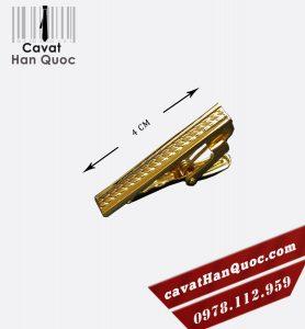 Kẹp cà vạt bản nhỏ mạ vàng họa tiết bông lúa