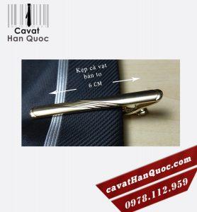 Kẹp cà vạt bản to mạ vàng bo tròn lá tre