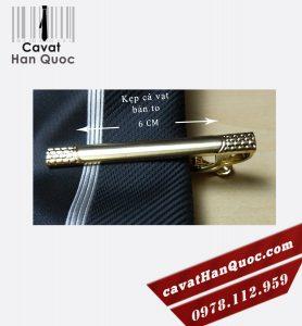 Kẹp cà vạt mạ vàng bản to kiểu đơn giản