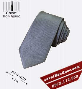 Cà vạt ghi nhạt cao cấp bản nhỏ 6 cm