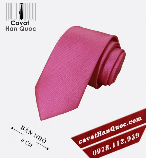 Cà vạt hồng đậm cao cấp bản nhỏ 6 cm