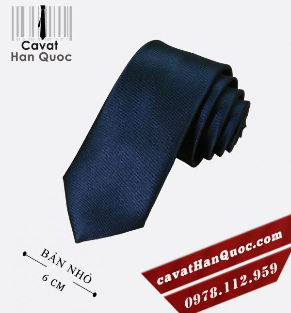 Cà vạt xanh than đậm cao cấp bản nhỏ 6 cm