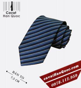 Cà vạt quà tặng xanh than kẻ xanh bạc bản to 7,5 cm
