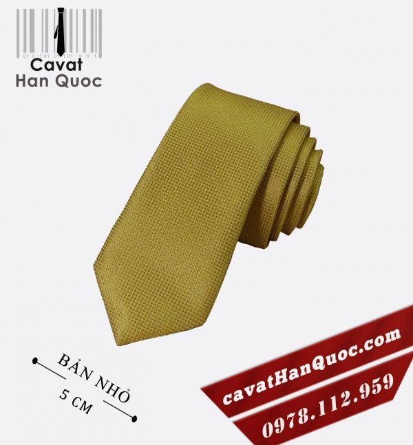 Cà vạt vàng đồng vải ô vuông bản nhỏ 5 cm