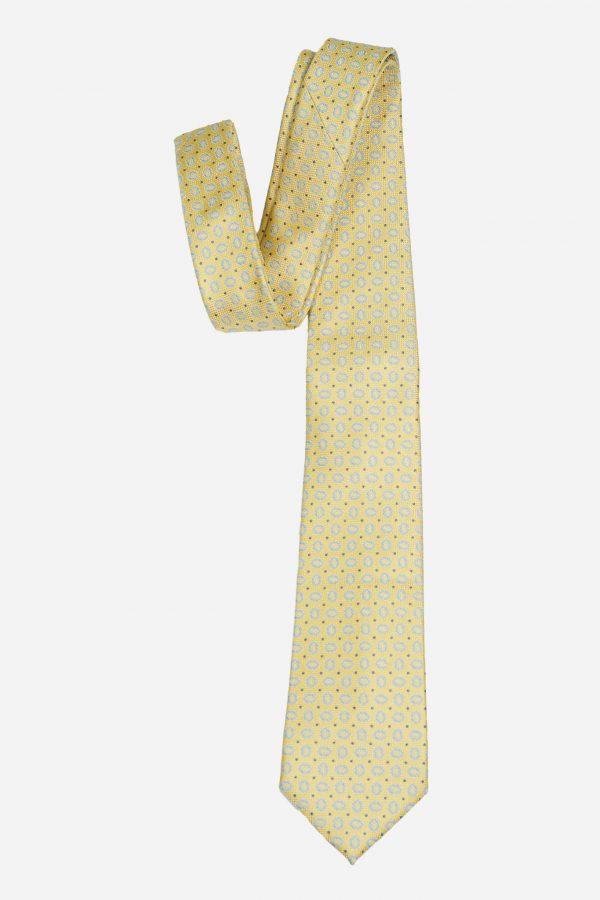 Cà vạt nhập Hàn Quốc vàng vân ovan xanh nhạt T.NOVO A439