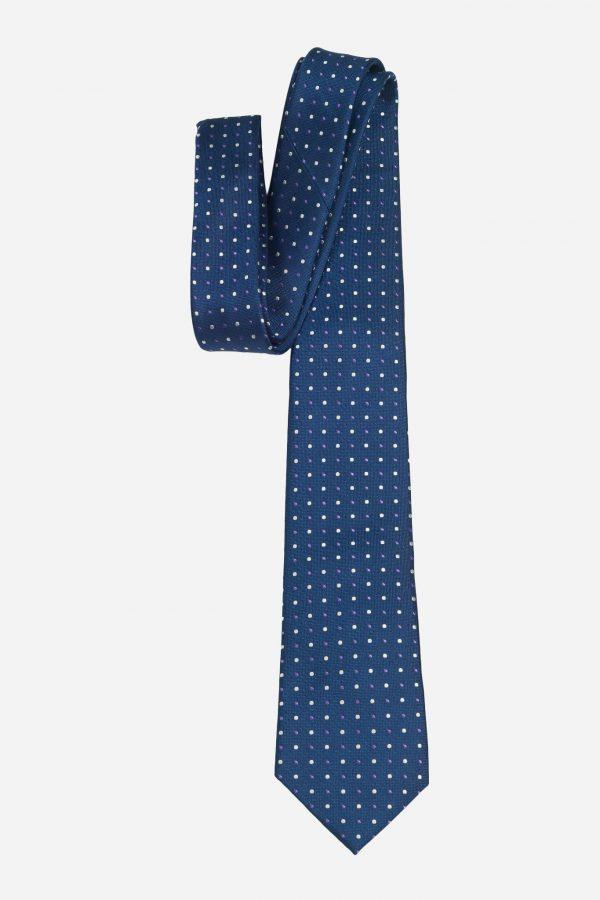 Cà vạt Hàn Quốc xanh than chấm bi trắng tím T.NOVO A425