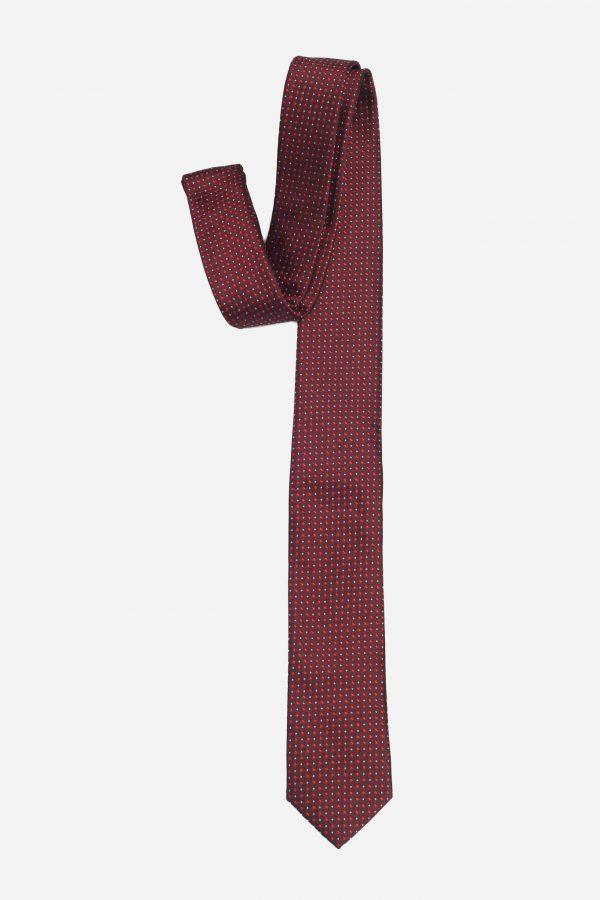 Cà vạt đỏ mận chấm vuông thoi cao cấp A385