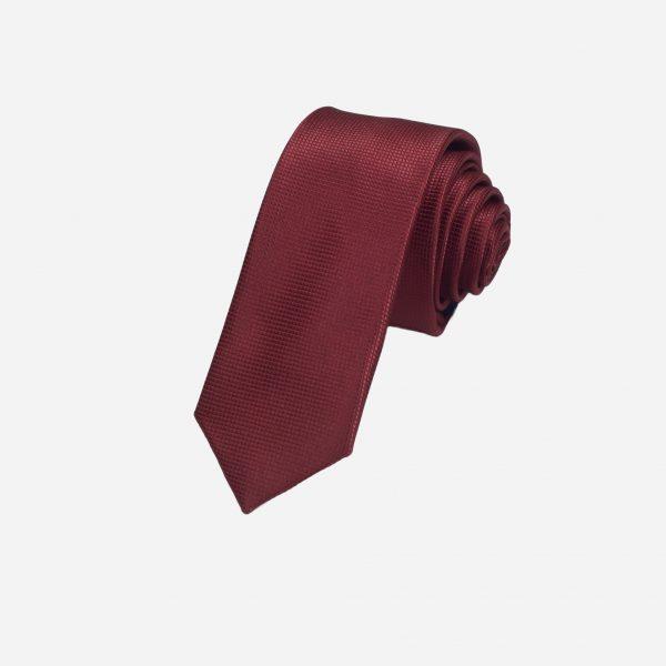Cà vạt đỏ mận đậm vải ô vuông A356
