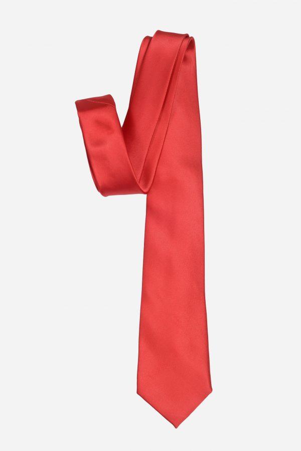 Cà vạt đỏ tươi lụa cao cấp A395