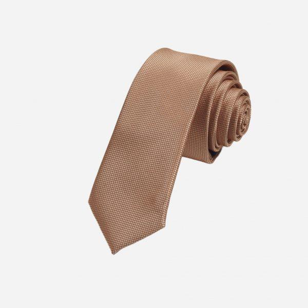 Cà vạt vàng nâu đồng vải ô vuông A374