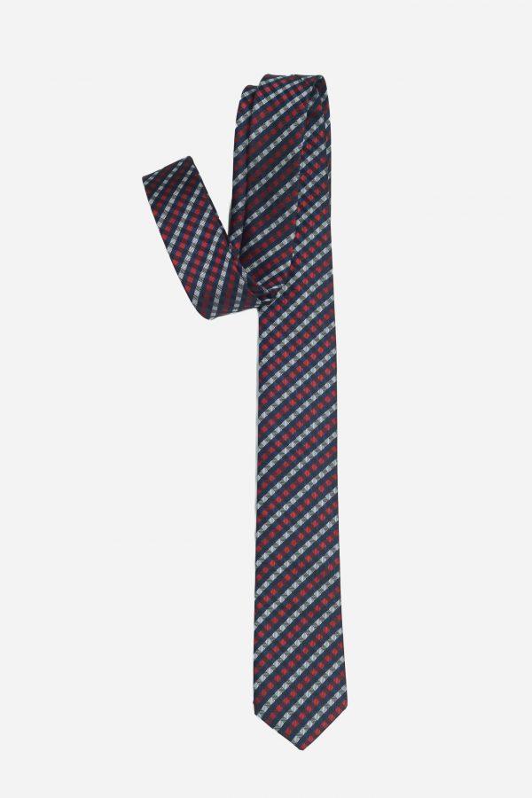 Cà vạt xanh than caro xám đỏ A398