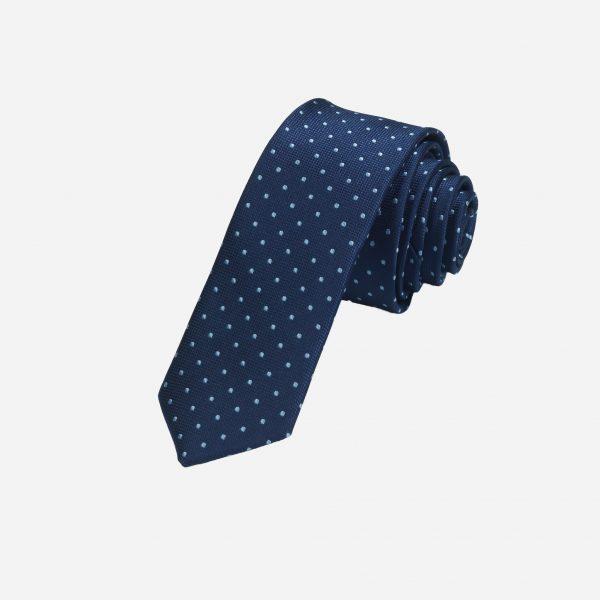 Cà vạt xanh than chấm bi bạc A399