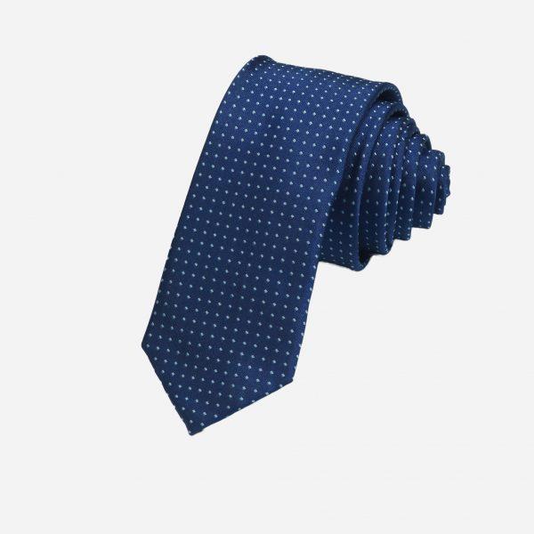 Cà vạt xanh than chấm thoi xanh nhạt cao cấp A386