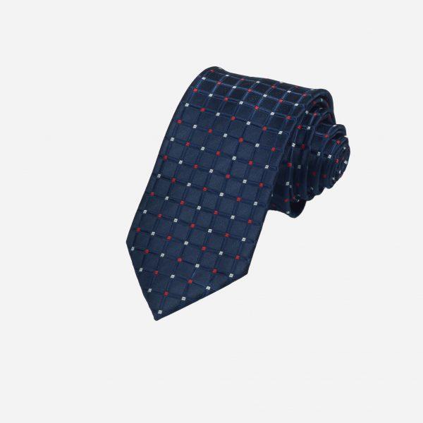 Cà vạt xanh than chấm vuông đỏ trắng A355