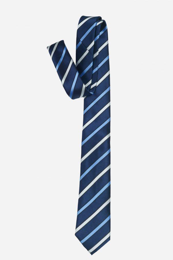 Cà vạt xanh than kẻ trắng xanh to cao cấp A384