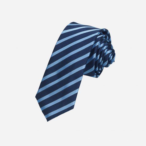 Cà vạt xanh than kẻ xanh bạc cao cấp A387