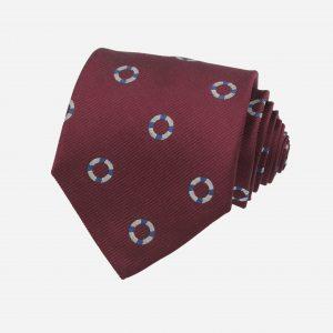 Cà vạt silk 100% đỏ mận ô tròn trắng xanh