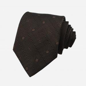 Cà vạt lụa nâu đậm họa tiết ô vuông nhỏ