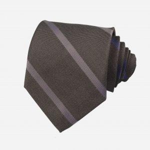 Cà vạt silk tự nhiên nâu kẻ chéo xanh