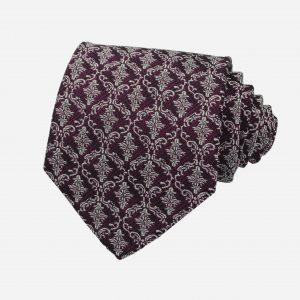 Caravat silk 100% tím họa tiết hoàng gia bạc