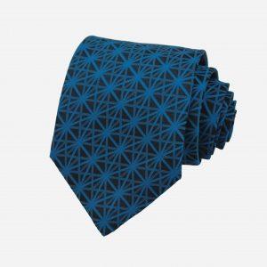 Caravat silk 100% xanh than sọc đan chéo xanh dương