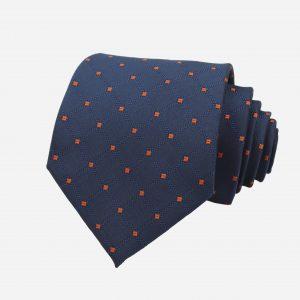 Cà vạt bản to xanh than chấm bi cam caro