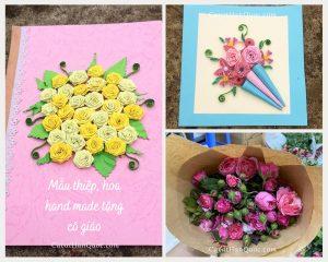 Mẫu hoa thiệp handmade tặng cô giáo ngày 20-11