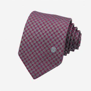 Cà vạt Hàn Quốc lụa 100% hoa ghi tím nhạt