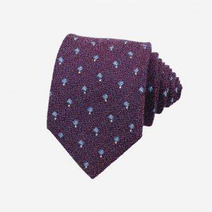 Cà vạt Hàn Quốc lụa 100% tím tía đính đá hoa xanh nhạt