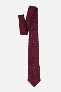 Cà vạt Hàn Quốc lụa đỏ mận đậm chấm xanh đính đá
