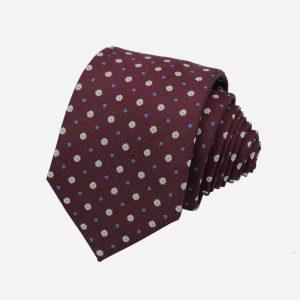 Cà vạt Hàn Quốc đỏ mận hoa trắng chấm bi xanh
