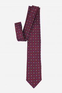 Cà vạt Hàn Quốc lụa đỏ mận hoa trắng xanh
