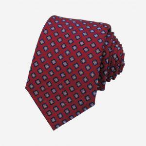 Cà vạt Hàn Quốc lụa đỏ mận hoa xanh dương chấm vàng