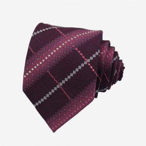Cà vạt Hàn Quốc lụa màu huyết kẻ sọc đính đá