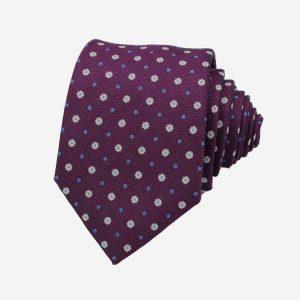 Cà vạt Hàn Quốc tím hồng đậm họa tiết thêu chìm