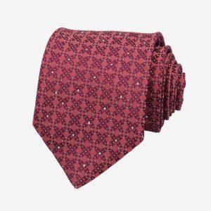 Cà vạt Hàn Quốc tím hồng hoa 4 cánh đính đá